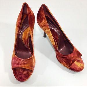 GIANNI BINI Red & Orange Velvet Peep Toe Heels, 8